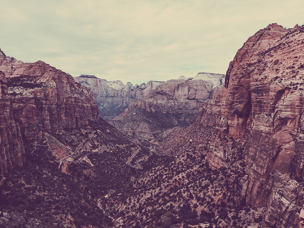 Overlooking the ancient canyon in Zion National Park, Utah.