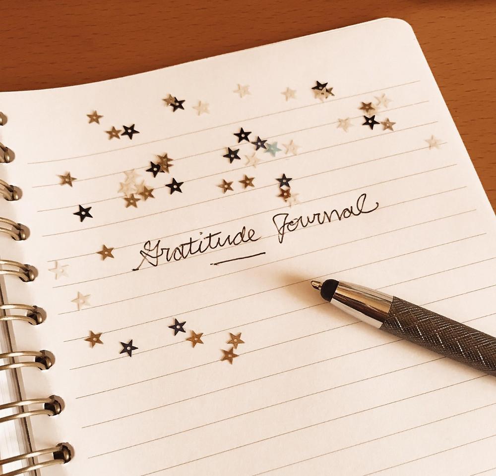 Pen writing in a gratitude journal