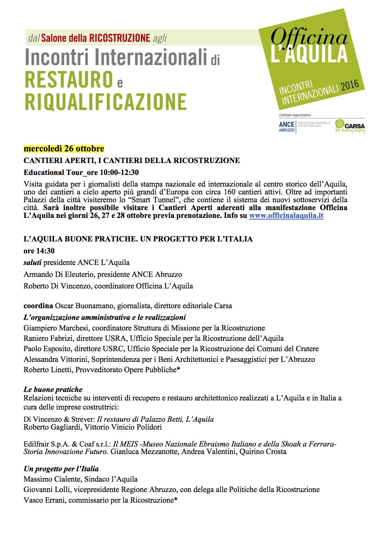 Officina L'Aquila 2016