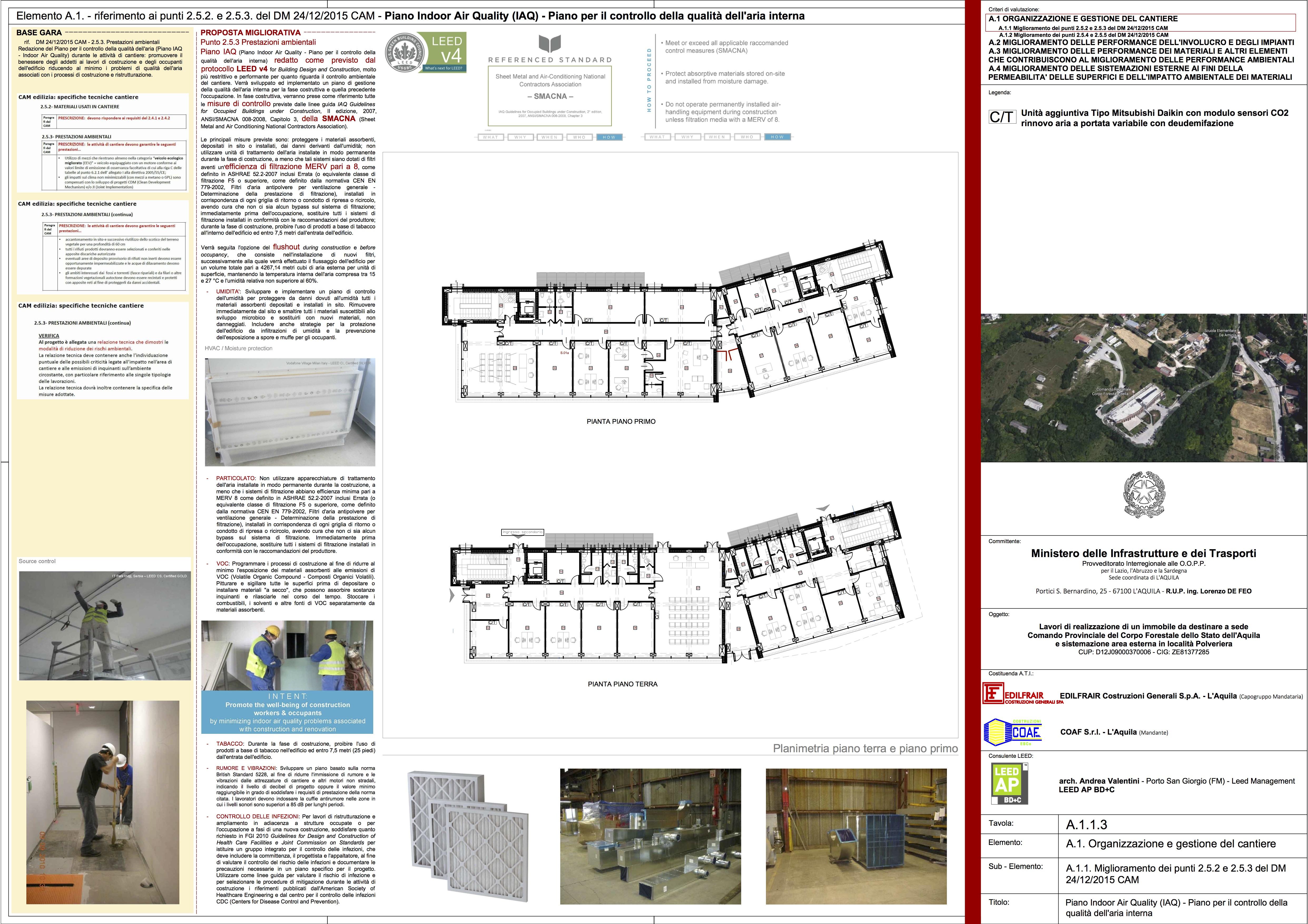 Tavola A.1.1.3 Oranizzazione e gestione del cantiere - Piano IAQ