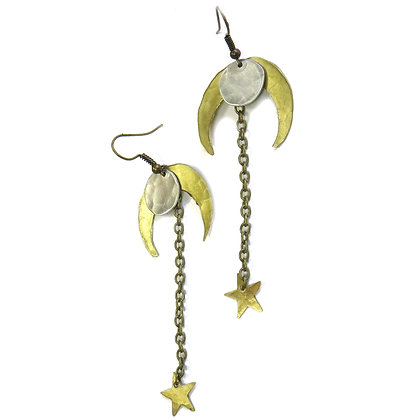 Falling Stars Crescent Moon Mixed Metal Earrings