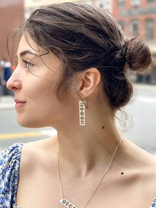 Silver Moon Phase Silhouette Earrings