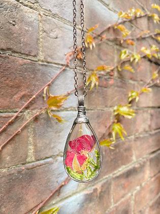 """Mossy Rose"" Glass Teardrop Necklace"