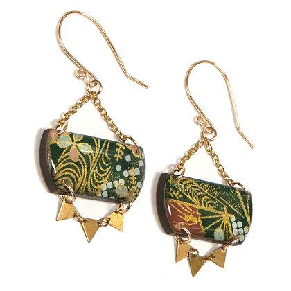 Wooden Origami Earrings w/Triangles