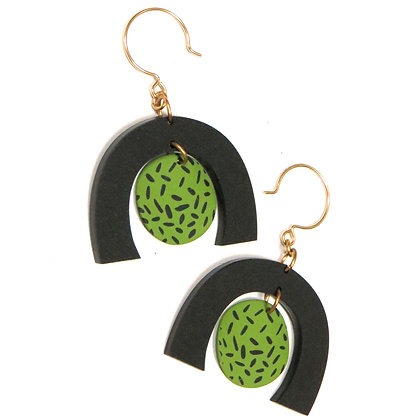 Moon-In-Arch Speckled Earrings