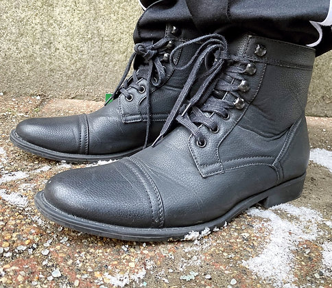 Vegan Leather Lace Up Boots ~ Size 10