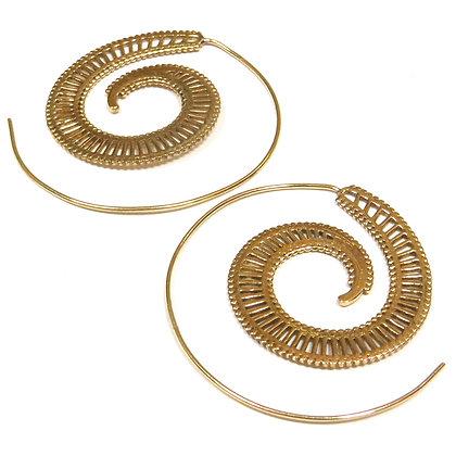 Brass Nautilus Spiral Earrings
