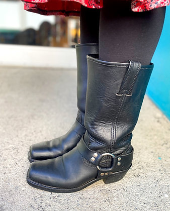 Frye Matte Black Harness Boots