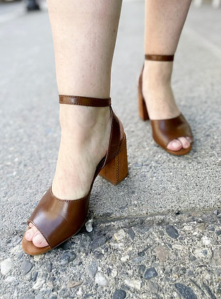 Lucky Brand Leather Ankle Strap Heeled Sandals