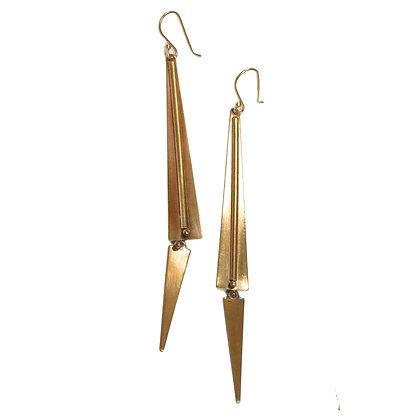 Tiny Anvil Dagger/Deco Long Brass Earrings