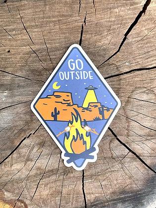"""""""Go Outside"""" Desert Night Vinyl Sticker"""