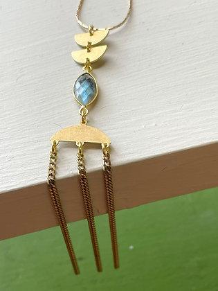 Labradorite & Brass Waterfall Necklace