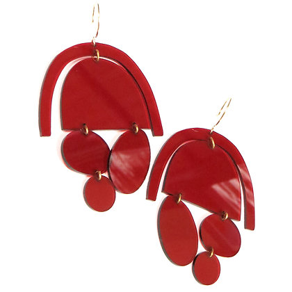 NEW '60s Style KAPOW! Transparent Red Acrylic Earrings