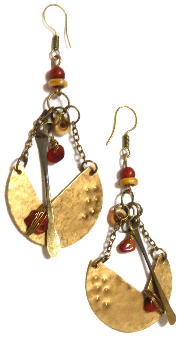Metal and Stone Earrings