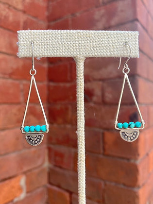 Turquoise Triangle Stamped Sterling Earrings