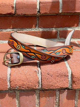 """""""Flower Vine"""" Genuine Leather Hand-tooled Leather Belts"""