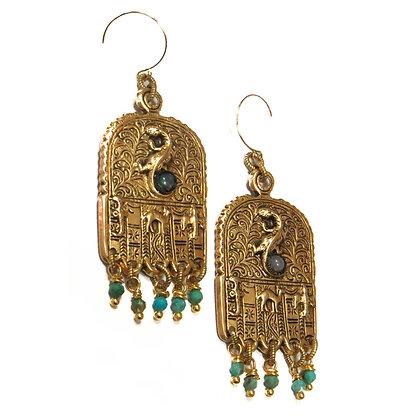 Egyptian Embossed Gold Earrings