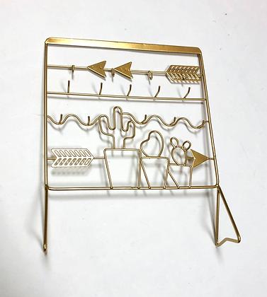 Brass Cactus Jewelry Stand