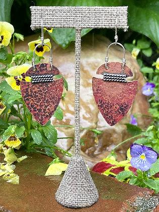 Oxidized Copper Arrowhead Earrings