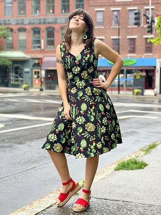 Retro Cut Graphic Print Cotton Dresses
