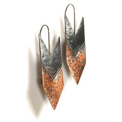 Oxidized Copper & Sterling Arrow Earrings