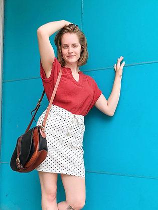 '80s Feels Polka Dot Denim Mini Skirt