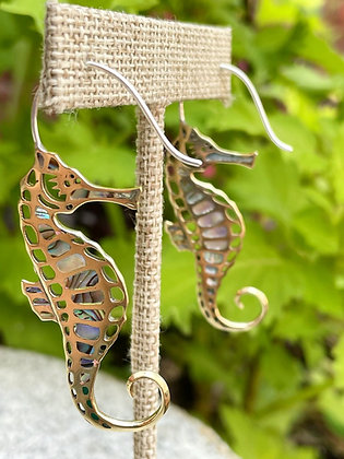 Brass & Abalone Shell Seahorse Earrings