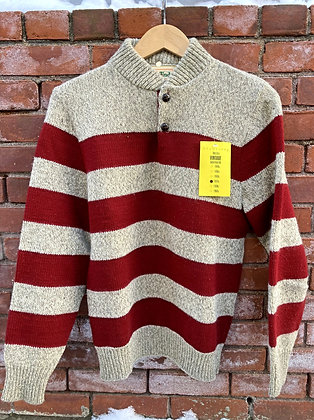 Men's Vintage 70's Burgundy & Oatmeal Striped Wool Sweater