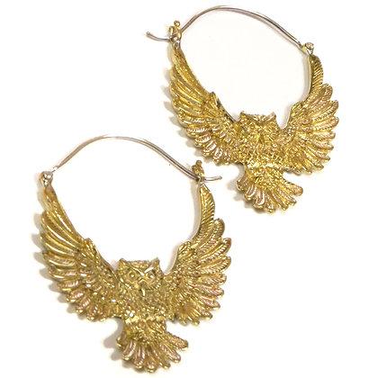 NEW Brass Owl Hoop Earrings