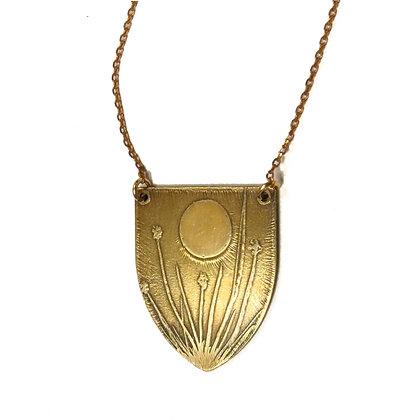 """Tiny Anvil """"Floral Field"""" Brass Necklace"""
