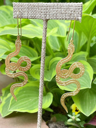 Etched Brass Snake Earrings