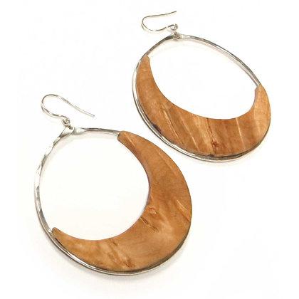 Handmade Maple/Sterling Hoop Earrings!