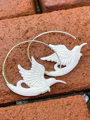Hand Carved Bone Sparrow Hoop Earrings