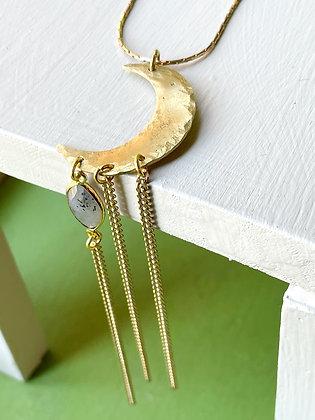 Crescent Moon Labradorite Drop Necklace
