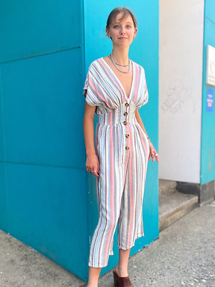 """""""Beach Town Stripes"""" Cropped Rayon Jumpsuit"""