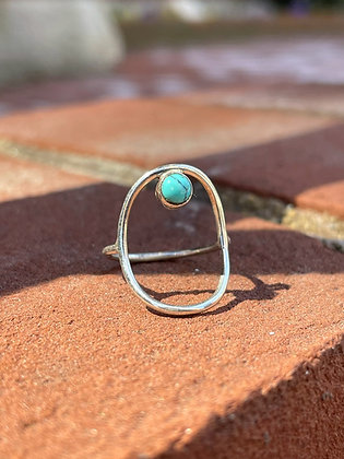 Turquoise Accented Sterling Silver Ring ~ Size 6
