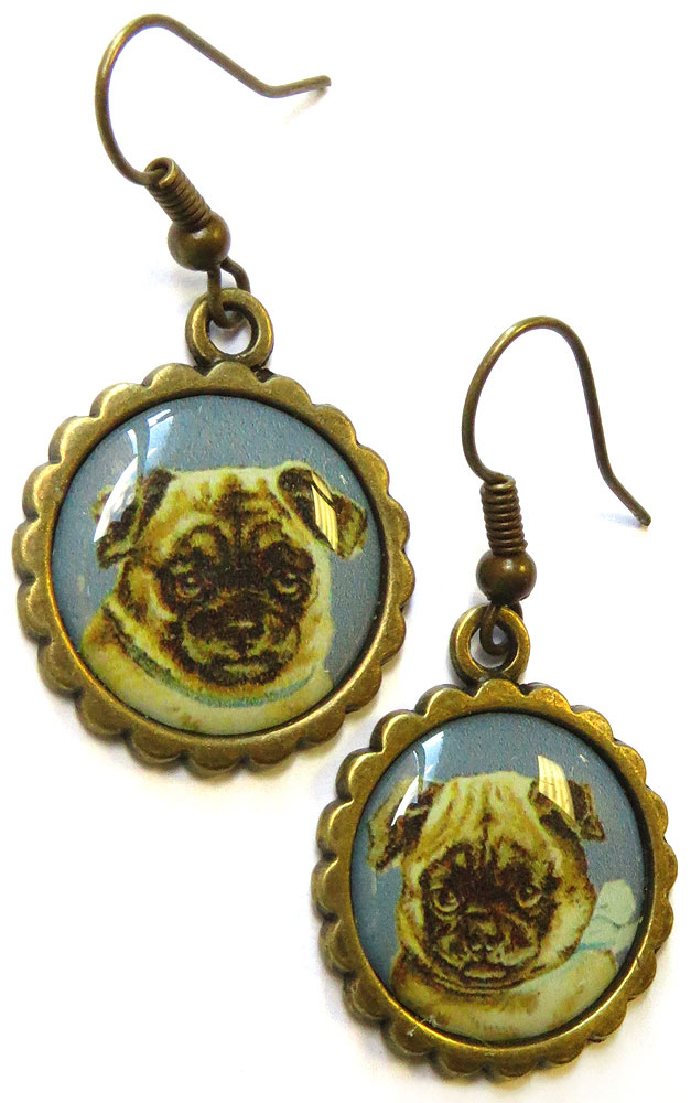 Pug Portrait Earrings