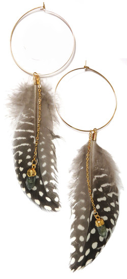 Feathered Hoop Earrings