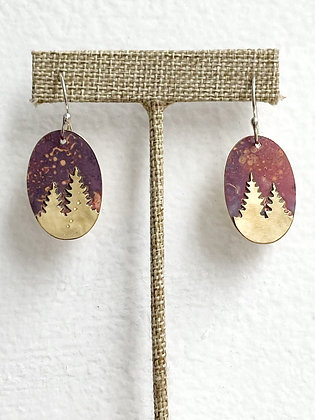 """""""Pines on the Horizon"""" Copper & Brass Oval Earrings"""