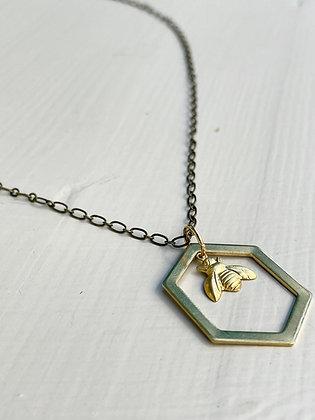 Hexagon Brass Bee Necklace