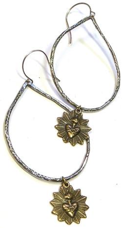 Sterling & Brass Folkloric Earrings