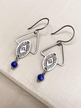 Tempe Sterling & Lapis Drop Stamped Earrings