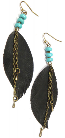 Feather & Chain Pendant Earrings