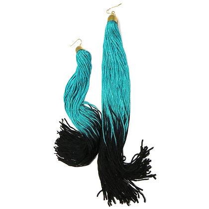 EXTRA LONGGGG Ombre Turquoise & Black Tassel Earrings
