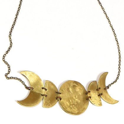 NEW Brass Moon Phase Necklace