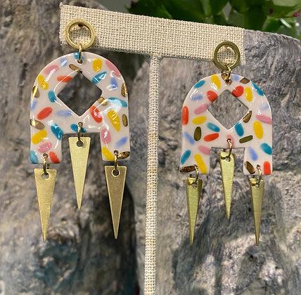 Porcelain Keyhole Sprinkle Earrings