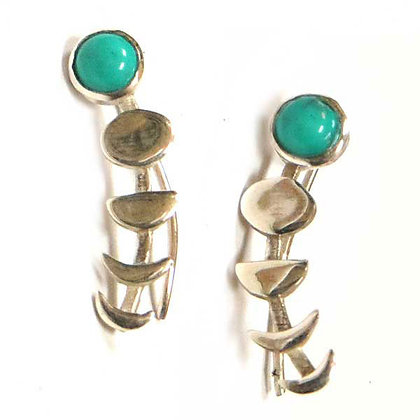 Turquoise & Silver Moon Phase Ear Climbers