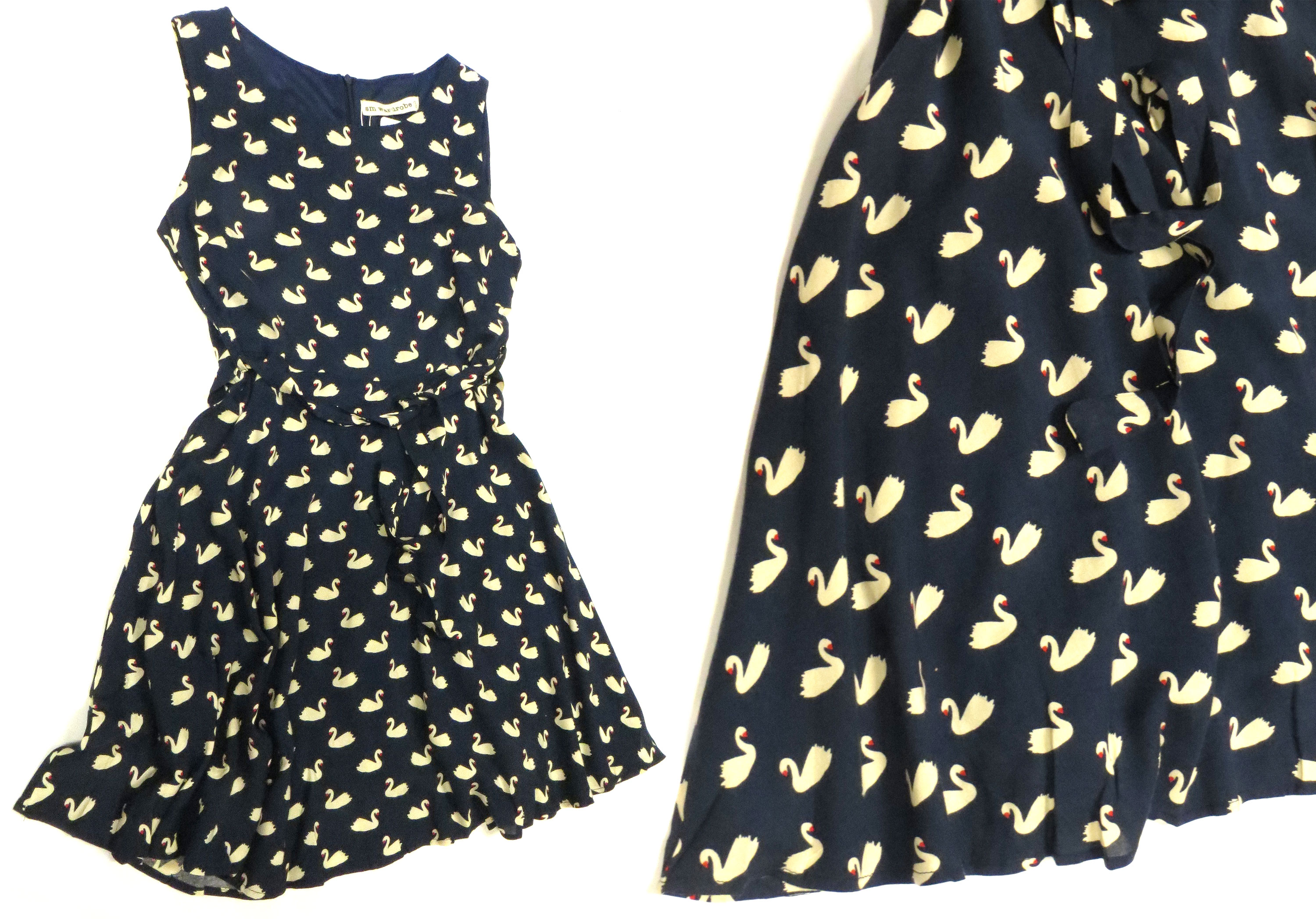 Belted Swan Print Dress