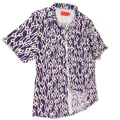 NEW Mens Purple & White Diamond Print Shirt