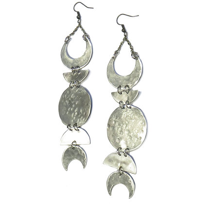 Hand Hammered Silver Moon Phase Earrings